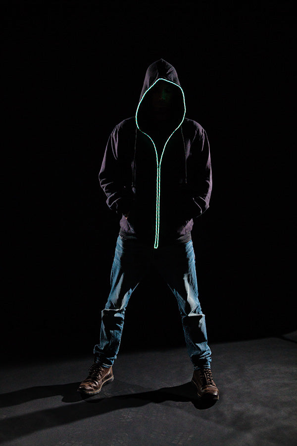 EL Light Up Hoodie with built-in Headphones (Rainbow EL Wire + Headphones + AUX + Inverter) - Glow Sticks Wholesale