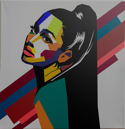 Ariana Grande hand made custom portrait in WPAP Style