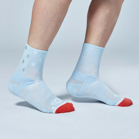 Mix Dot Reflective Quarter Ankle Socks (Light Blue)