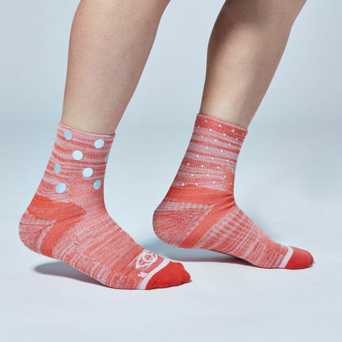 Mix Dot Reflective Quarter Ankle Socks (Red Heather)