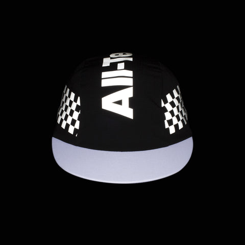 Checker Reflective 3-Panel Cycling Cap (Black)
