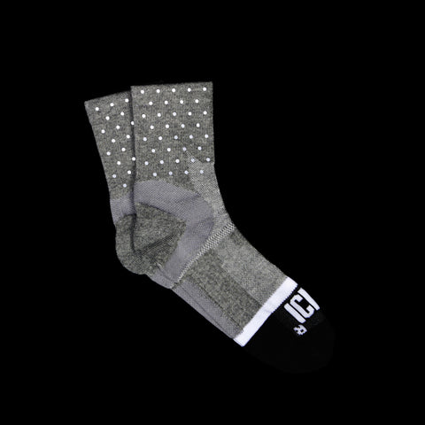 Grey Reflective Quarter Ankle Mini Dot Socks