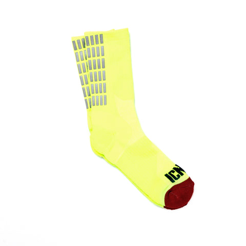 Gradient Grid Reflective Half Calf Sock (Yellow)