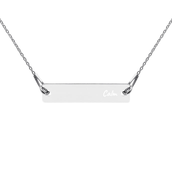 Calm Engraved Rose gold/Silver Bar Chain Necklace