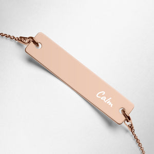 Calm Engraved Rose gold/Silver Bar Chain Bracelet