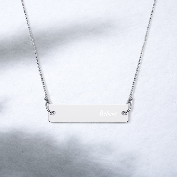 Believe Engraved Rose gold/Silver Bar Chain Necklace