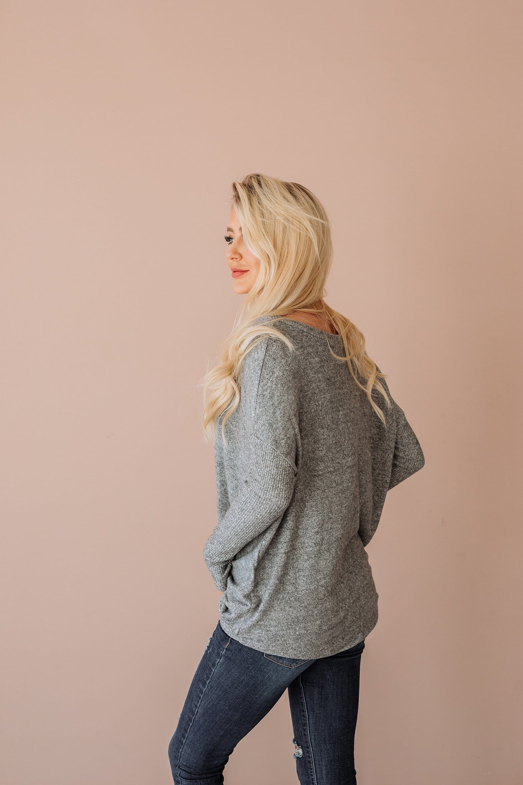 The Steele Twist Top in Heather Grey and Olive
