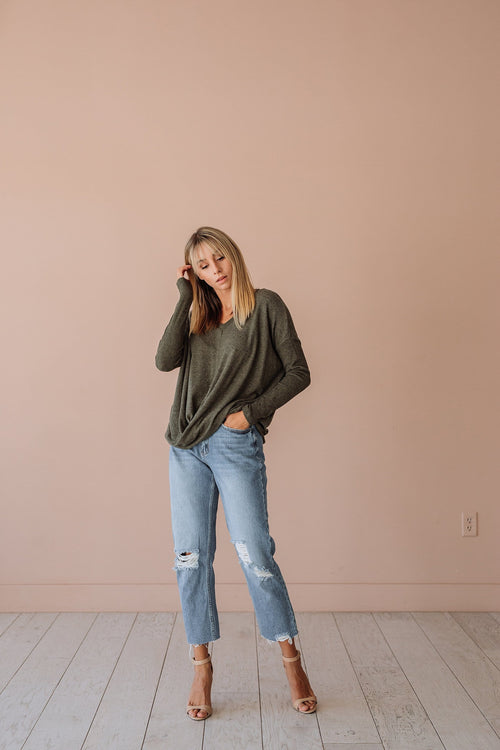 The Steele Twist Top in Olive