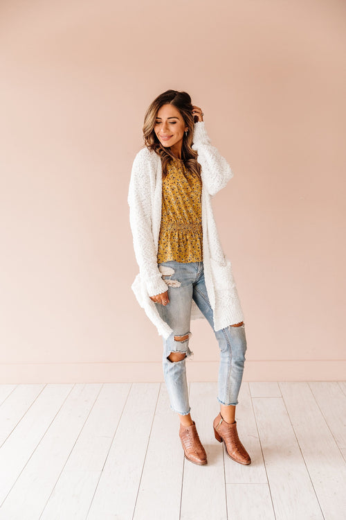 The Luca Popcorn Cardigan in White