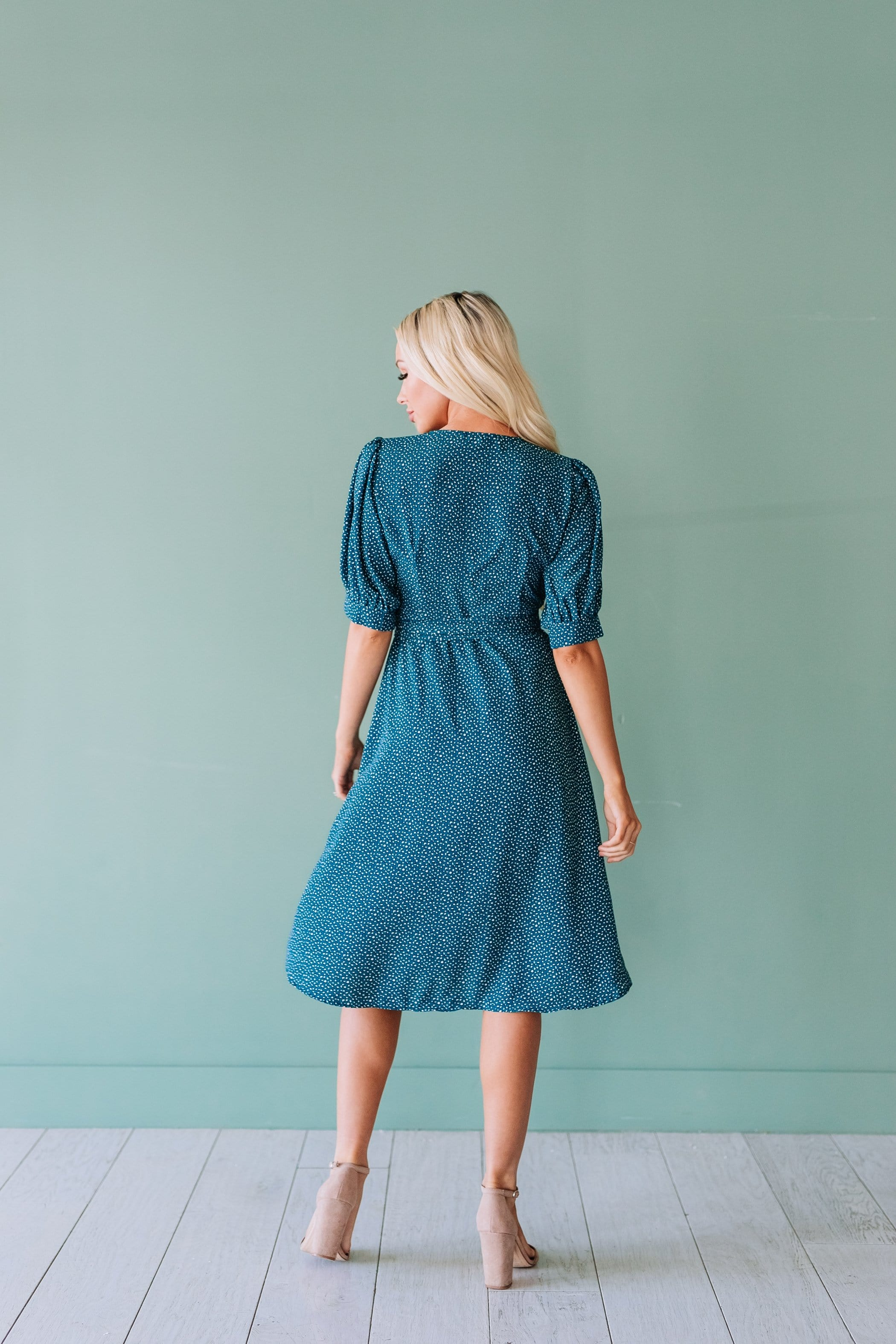 The Wheeler Wrap Midi Dress in Teal
