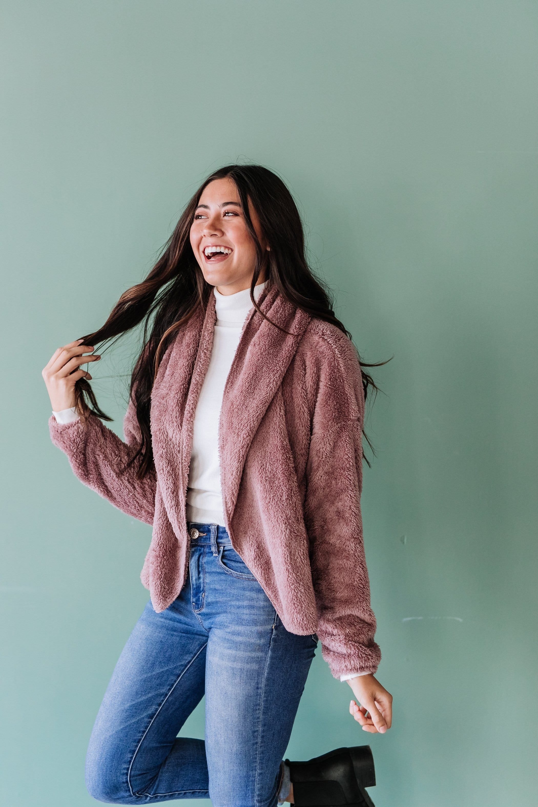 The Xander Hooded Open Jacket in Mauve