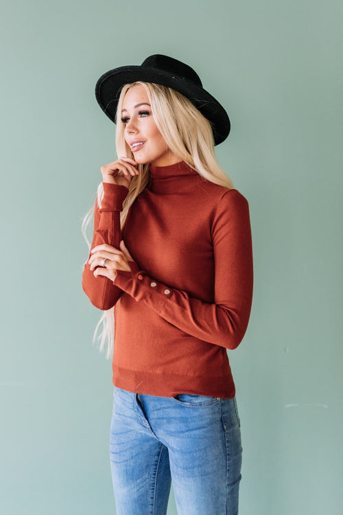 The Thames High Neck Long Sleeve Top in Ivory, Olive and Rust
