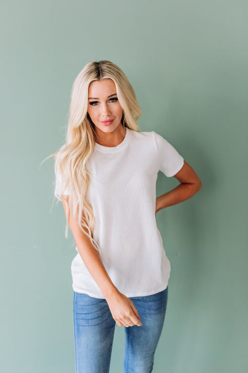 The Scottie Round Neck Top in Ivory