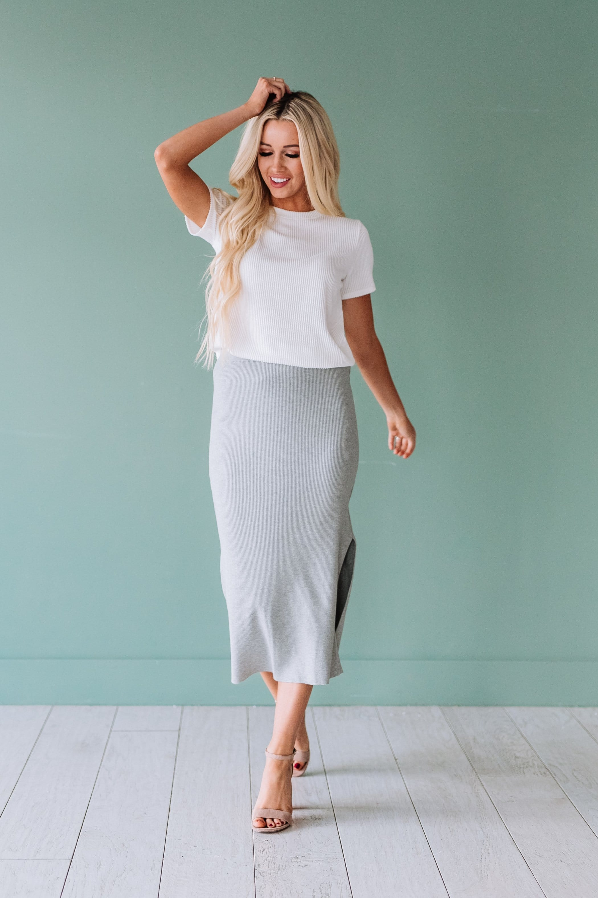 The Marana Rib Knit Pencil Skirt in Black and Grey