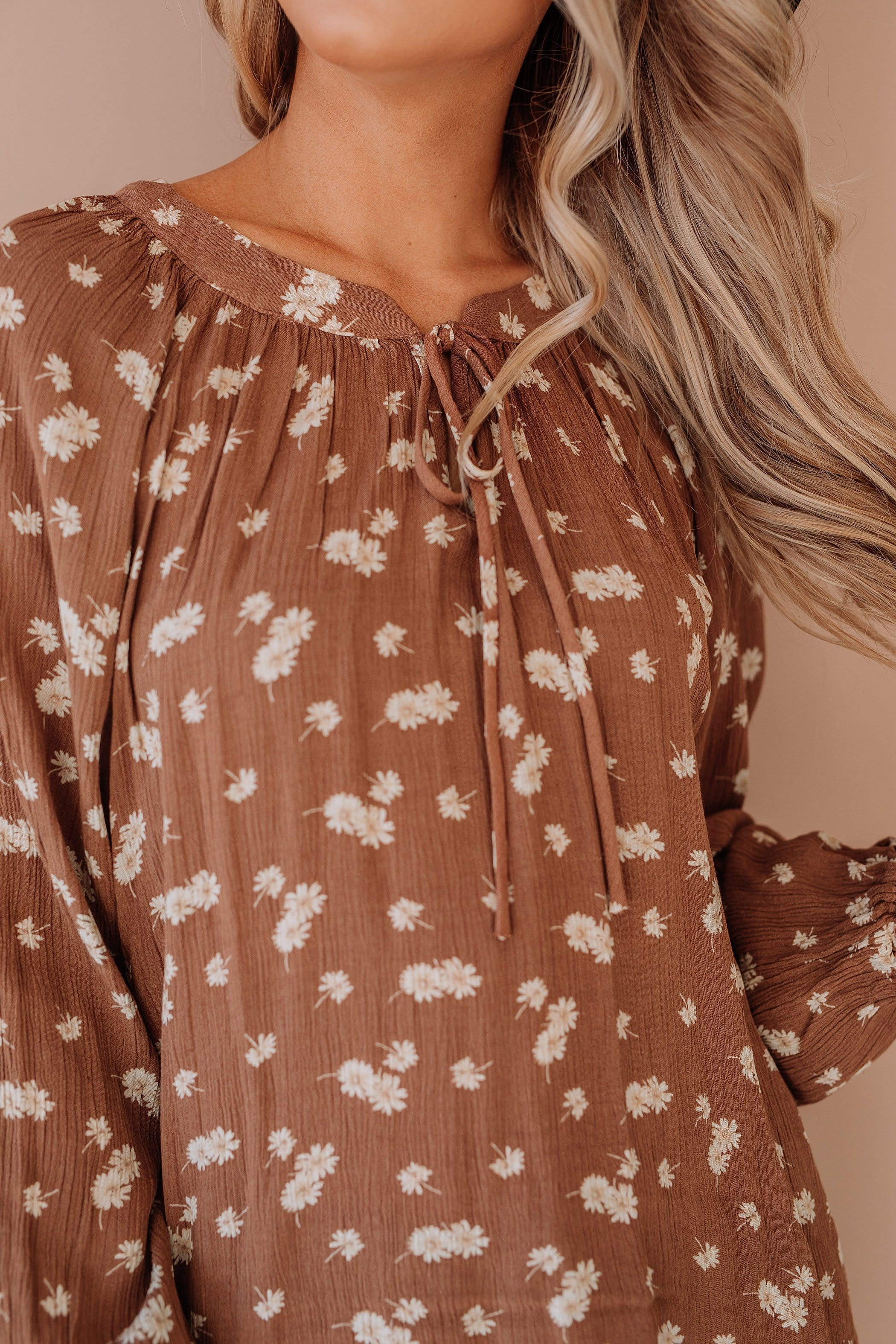 The Yasmine Peasant Top in Mocha
