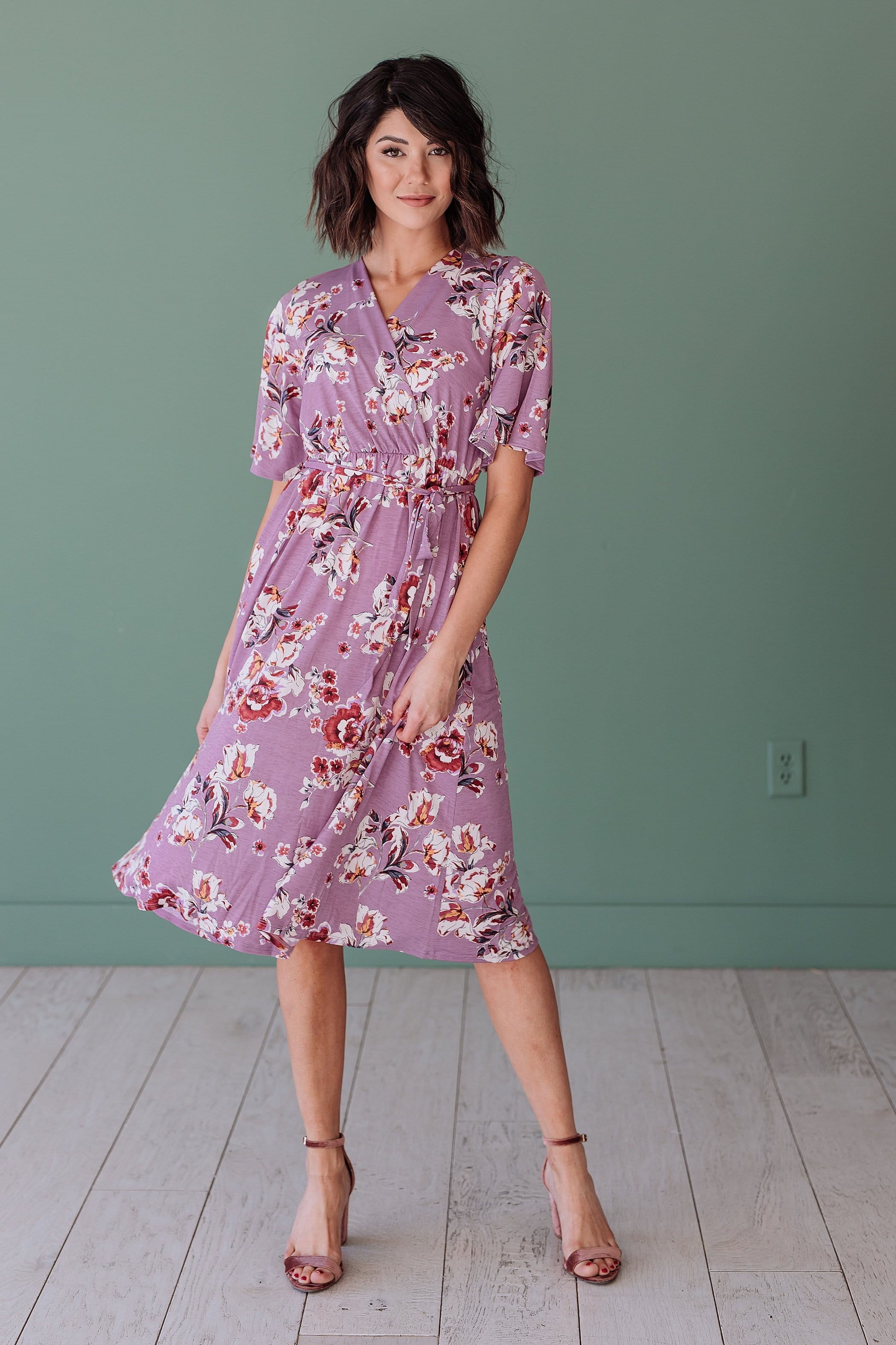 The Landry Floral Wrap Midi Dress in Purple