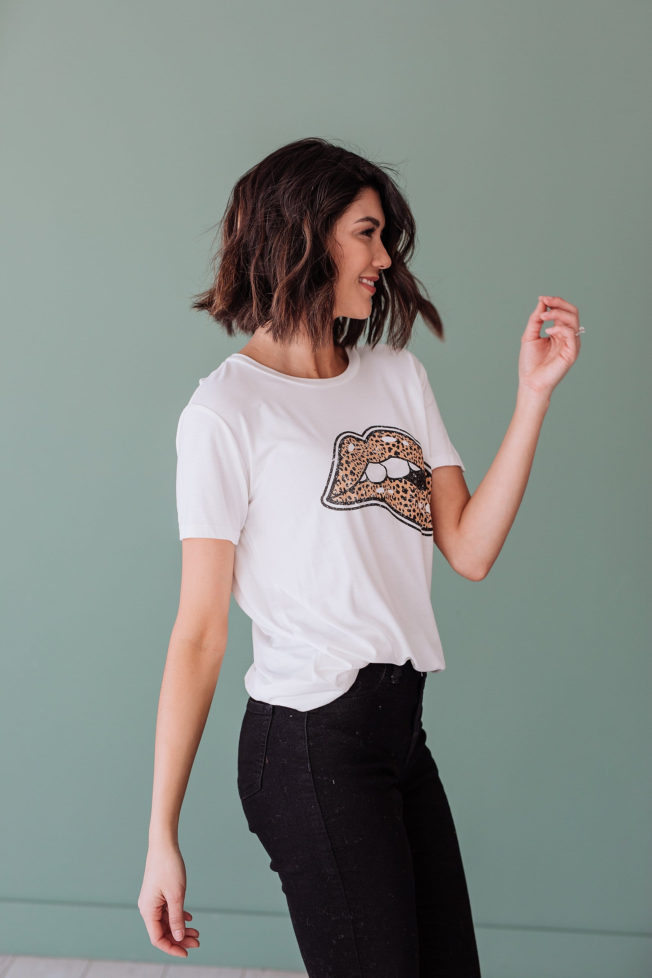 The Leopard Lips Graphic Top in Black, Grey and White