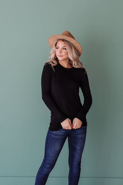 The Winslow Round Neck Top in Black, Grey, Hunter Green and Titanium
