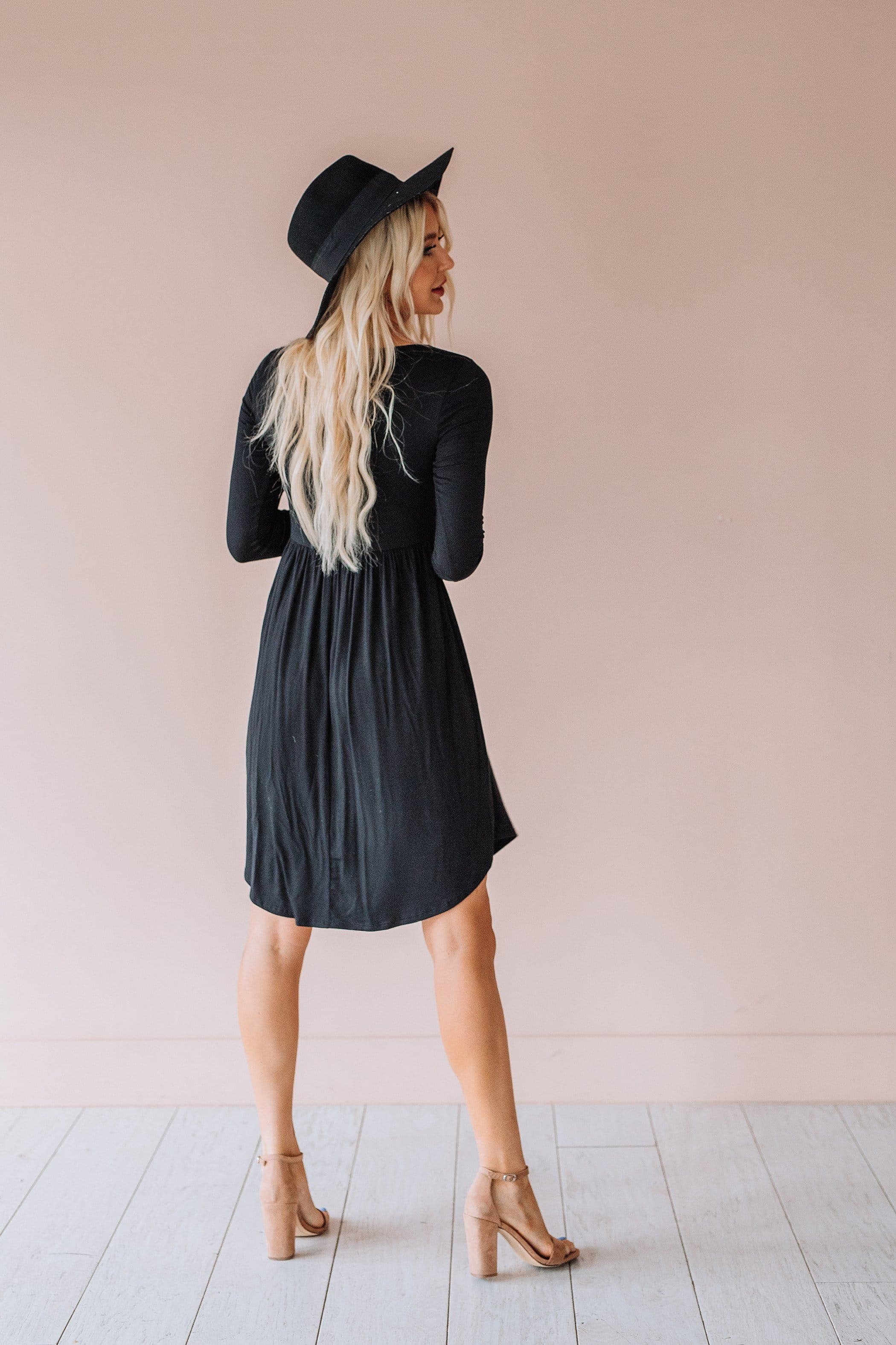 The Muriel Midi Dress in Black and Olive