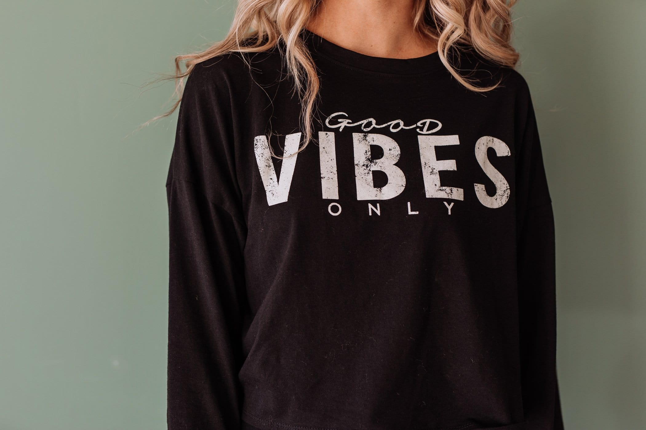 The Good Vibes Only Top in Black