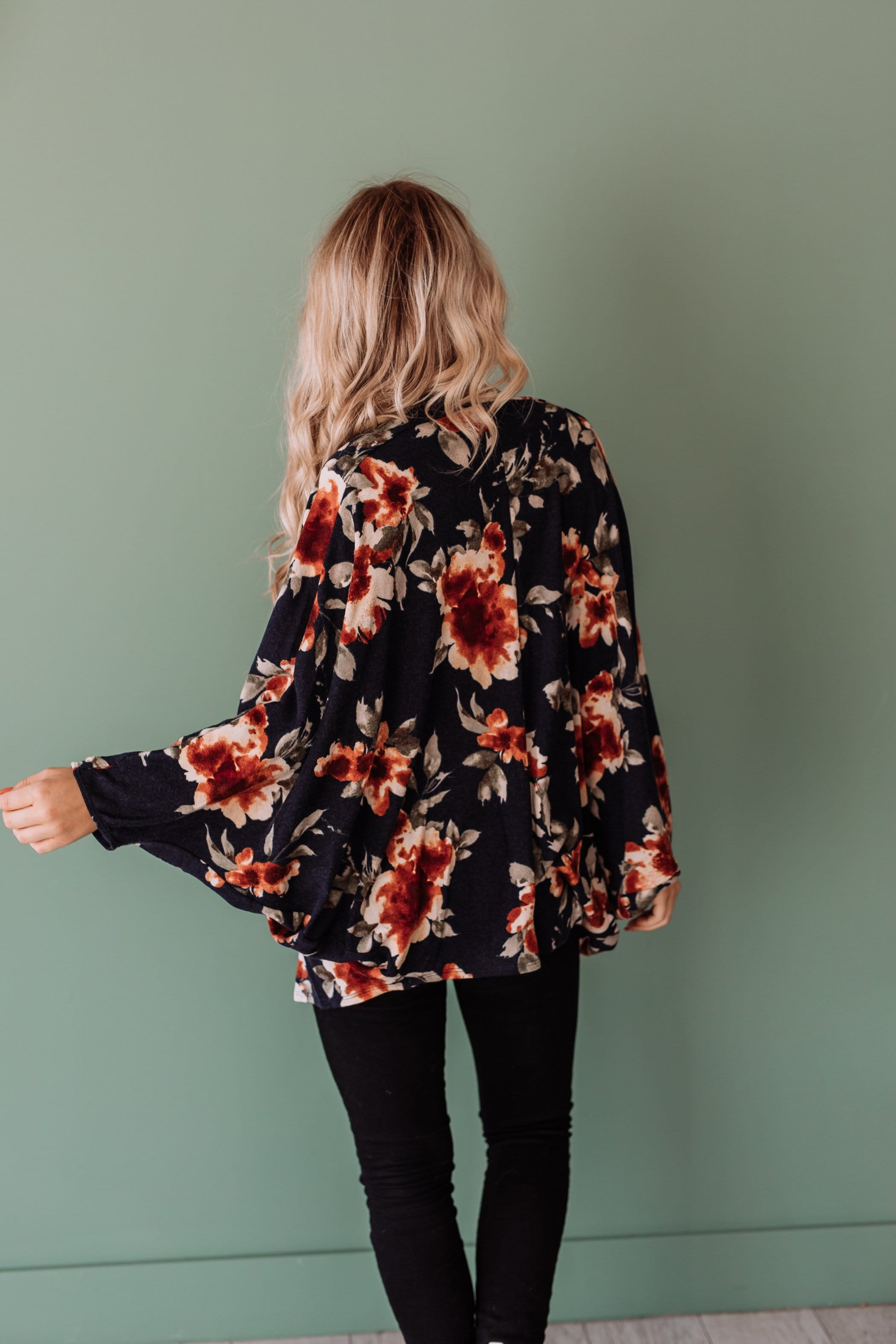 The Corrina Floral Cardigan in Navy