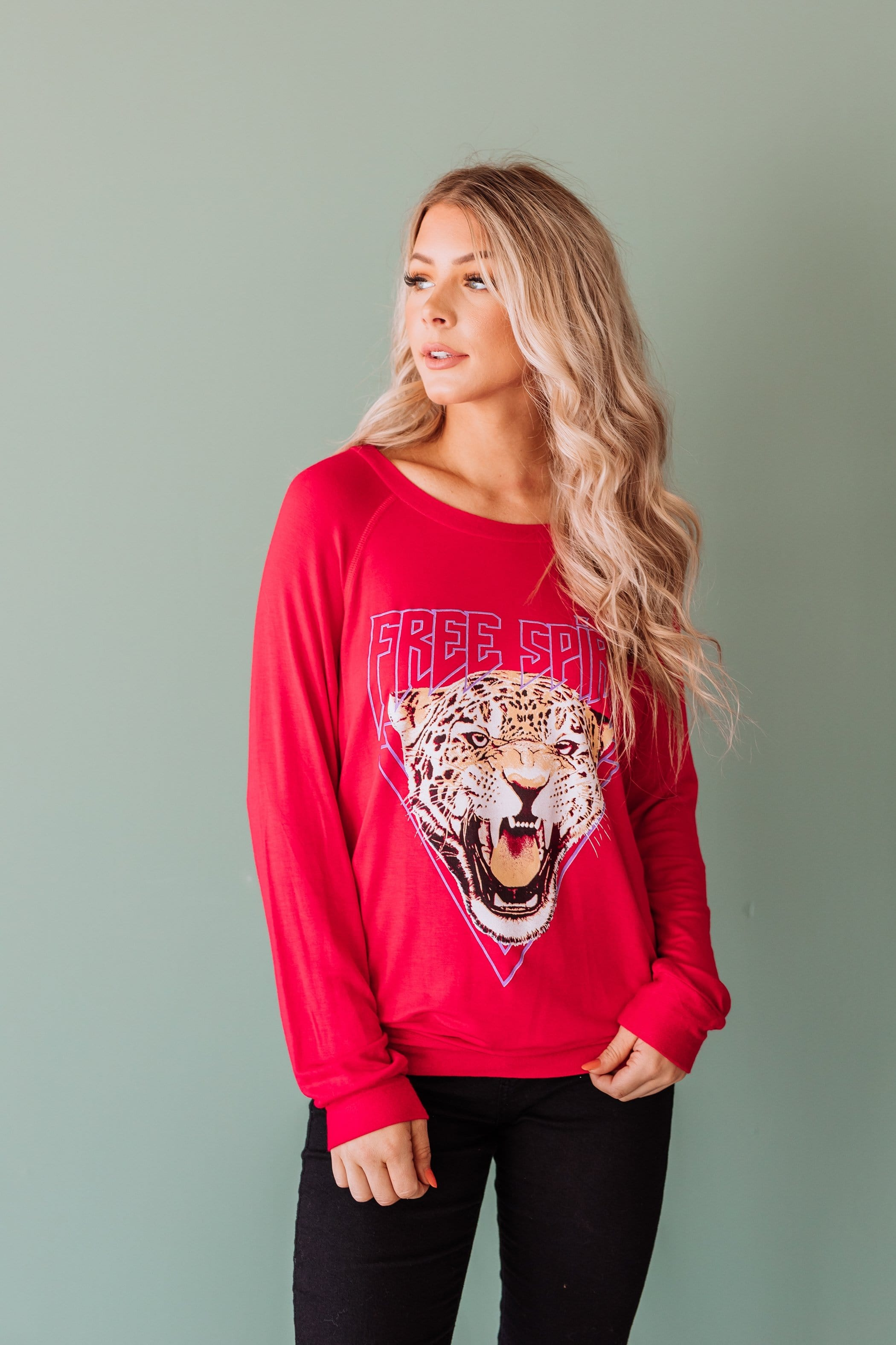 The Free Spirit Graphic Top in Black and Red