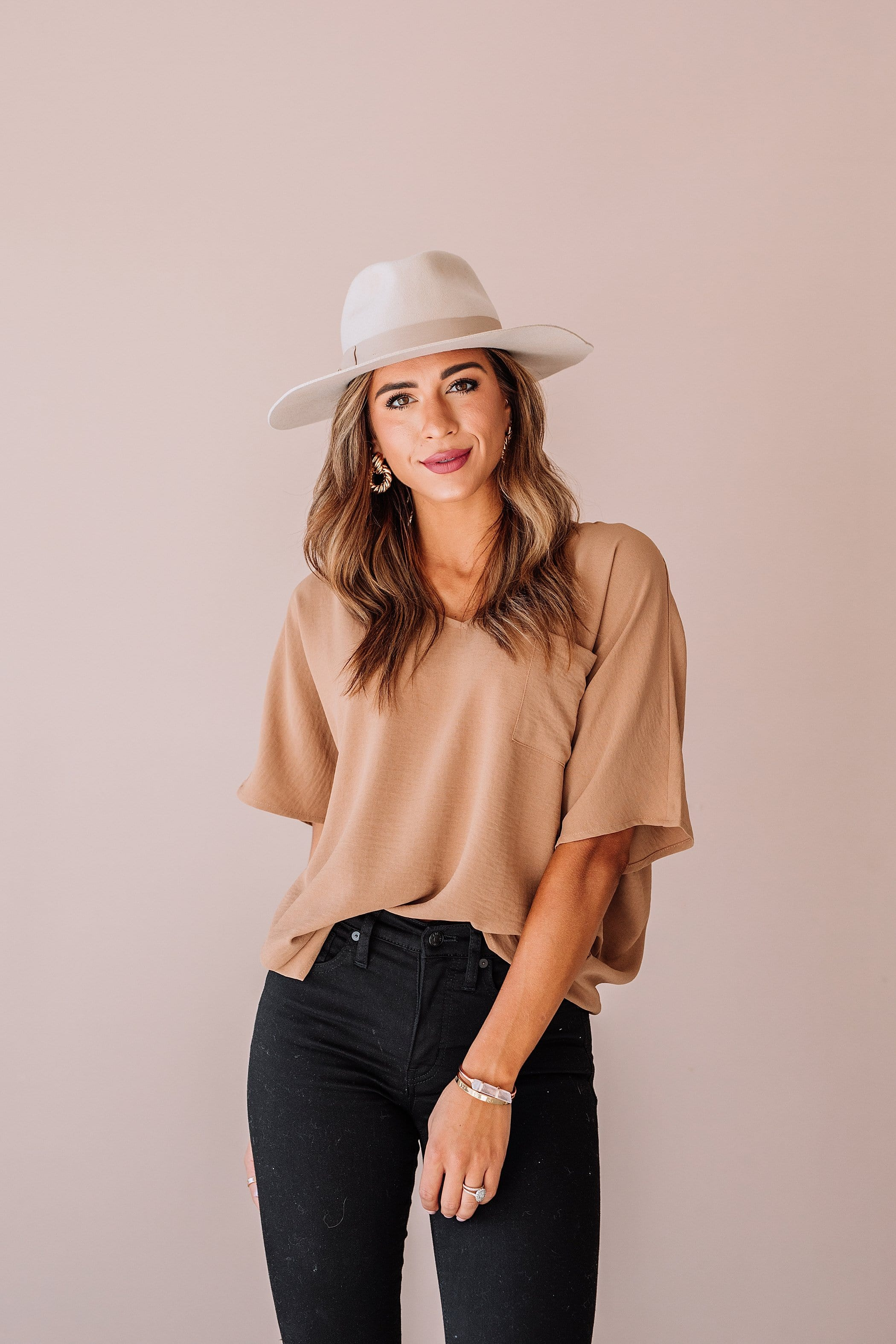 The Medano Pocket Top in Camel, Mauve and Ivory