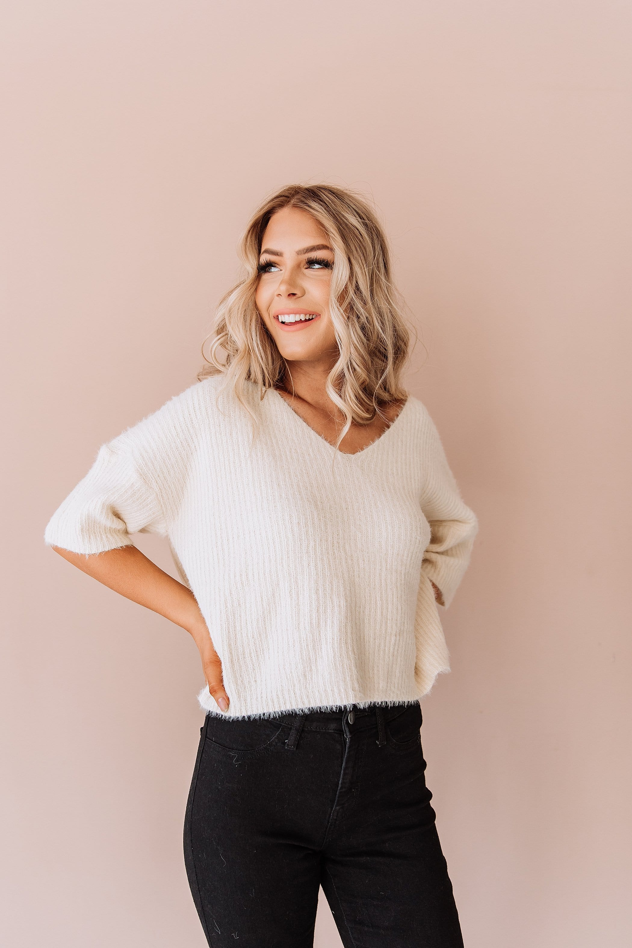The Jolie Ribbed Knit Sweater in Ivory