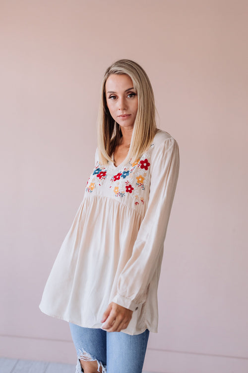 The Sage Embroidered Peplum Top in Oatmeal