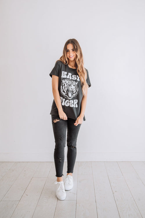 The Easy Tiger Vintage Graphic Tee in Black and Blush