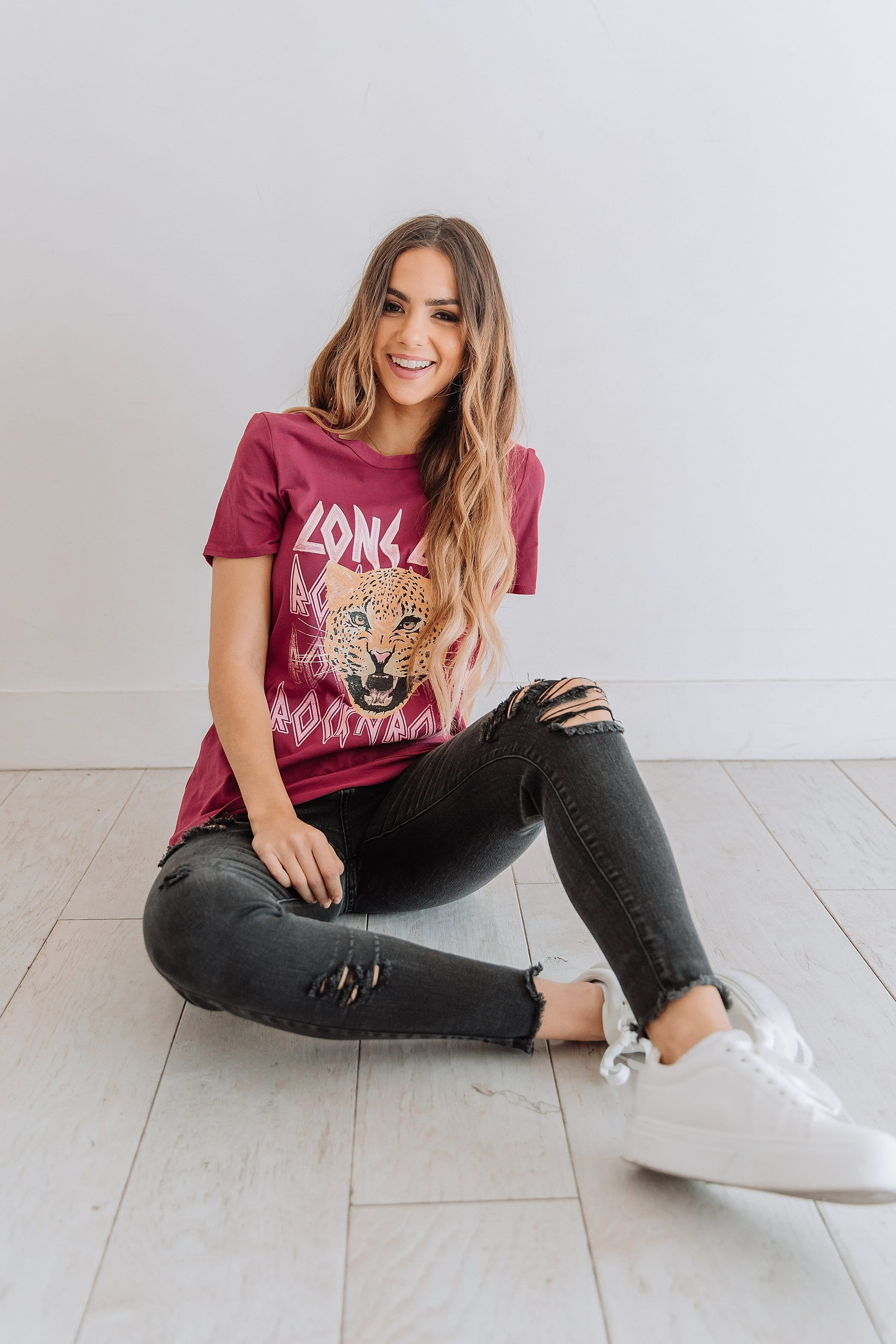 The Long Live Vintage Graphic Tee in Berry and Black