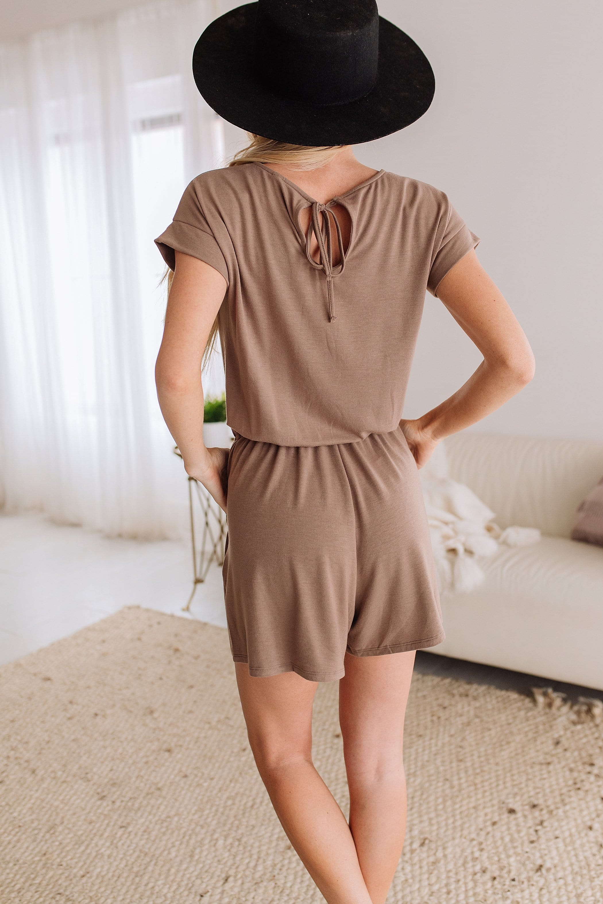 The Brindee Romper in Mocha and Titanium