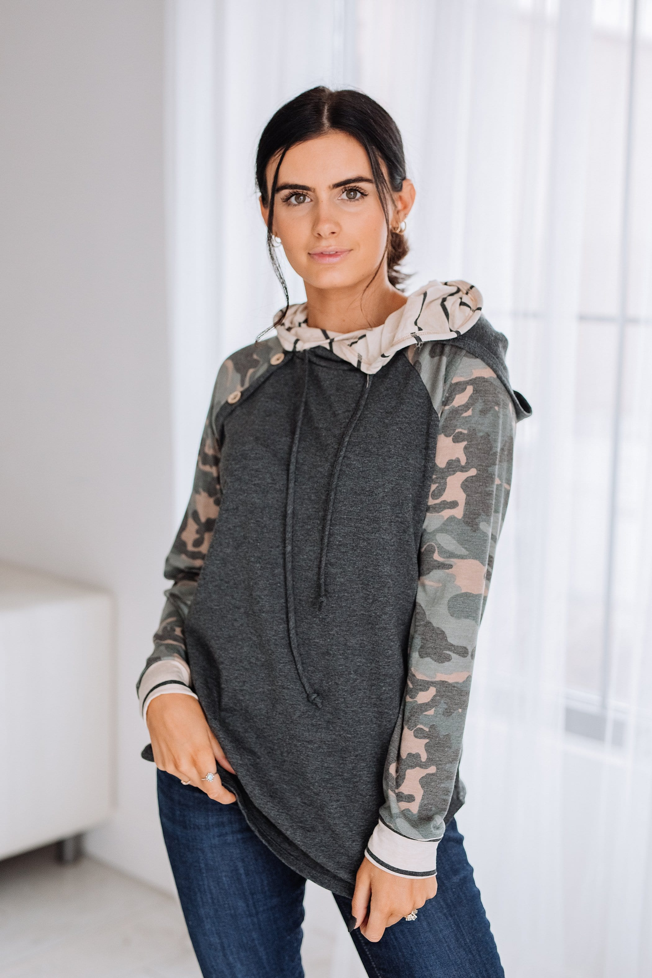 The Jericho Camo Hoodie in Charcoal