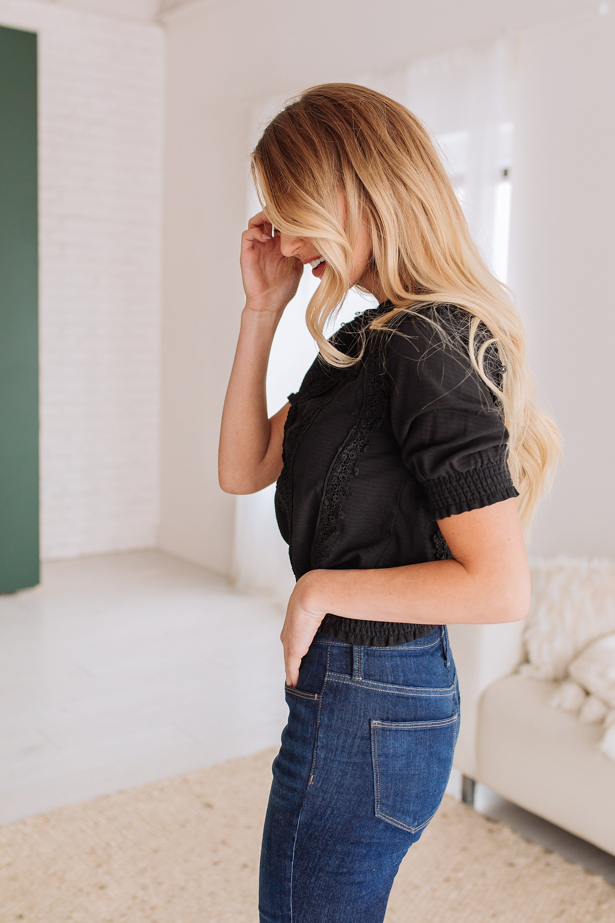 The Midtown Smocked Lace Top in Black and White