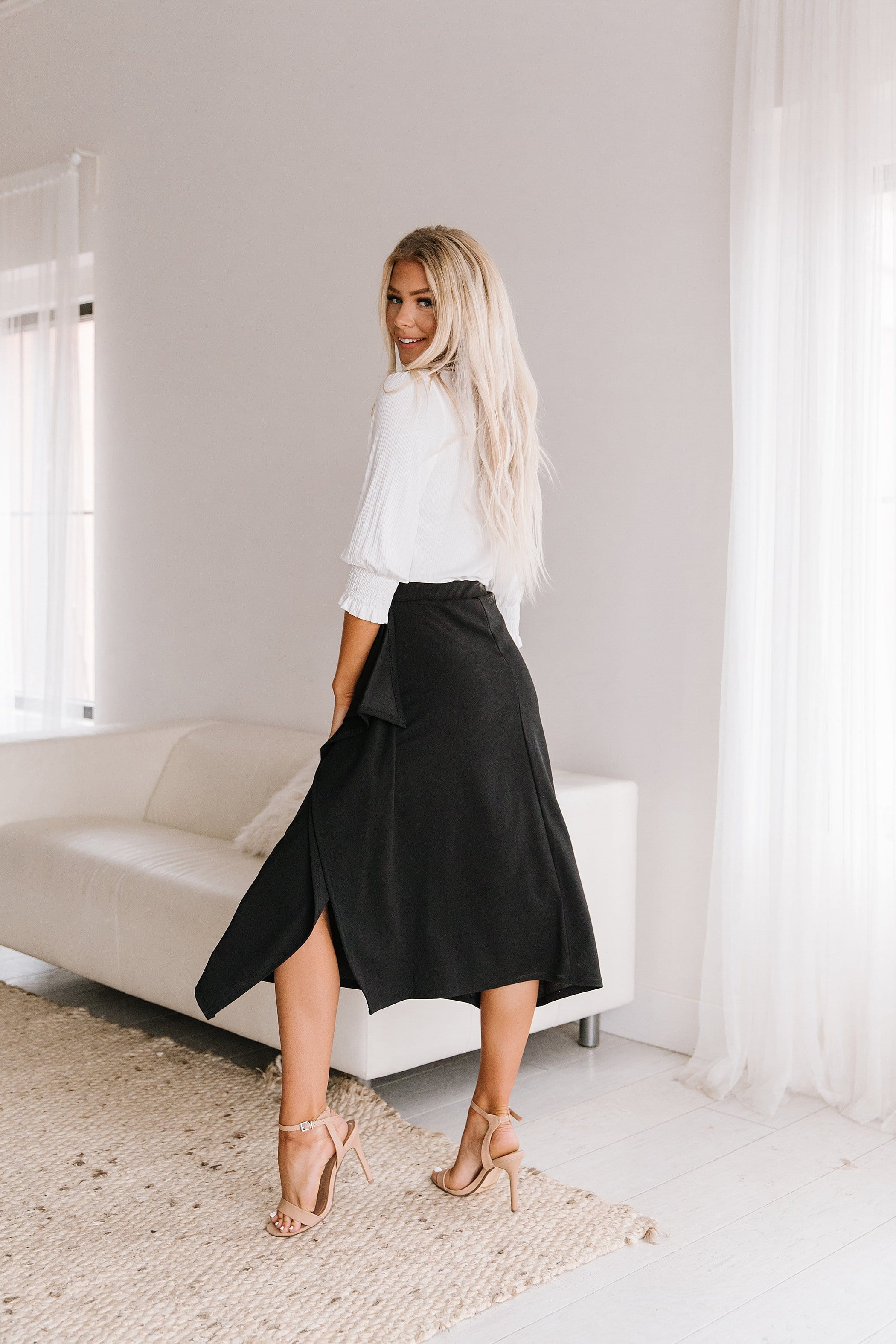 The Frida Ruffle Pencil Skirt in Black