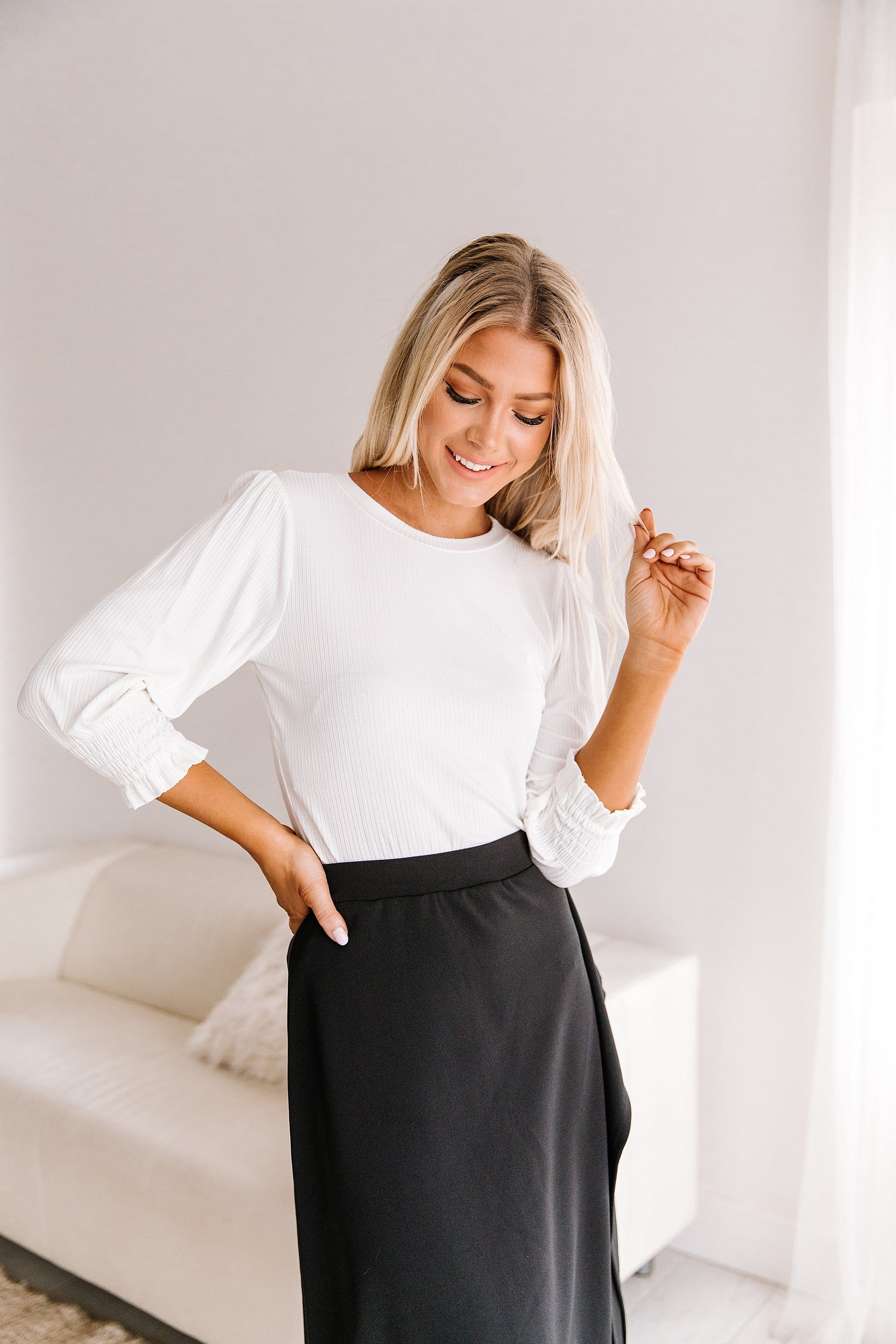 The Astoria Puff Sleeve Top in Black and Ivory