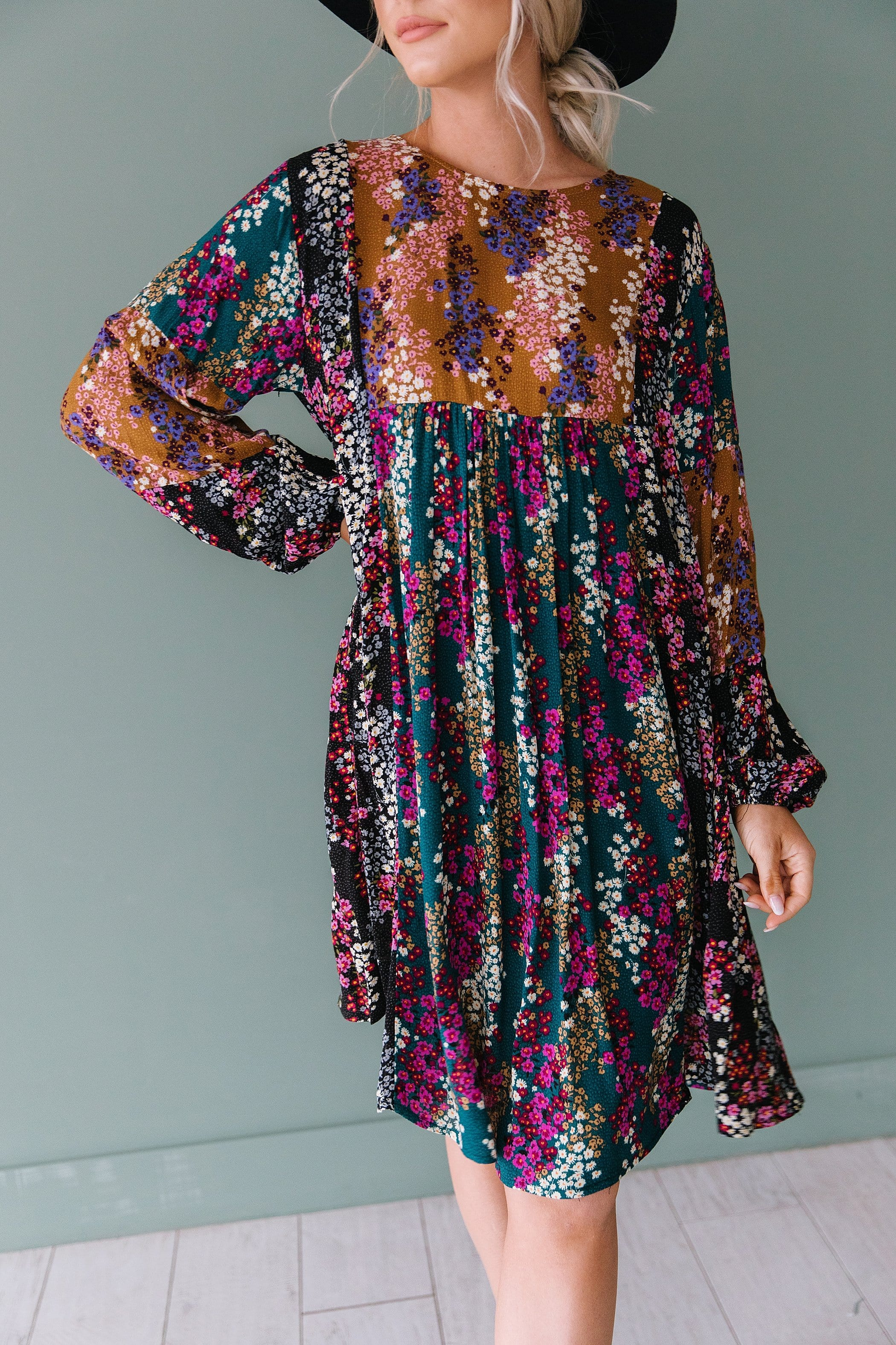 The Harrow Floral Boho Midi Dress in Multi
