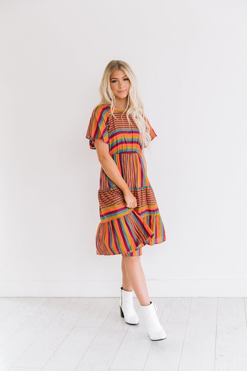 The Braylin Striped Midi Dress in Multi
