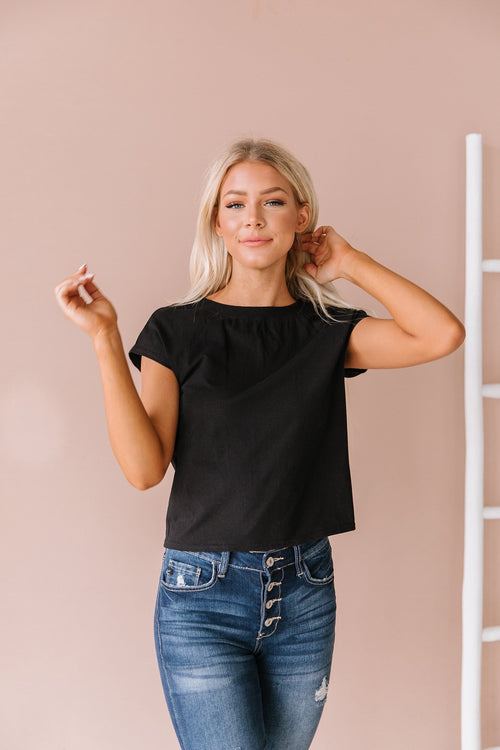 The Sarah Snap Shoulder Top in Black