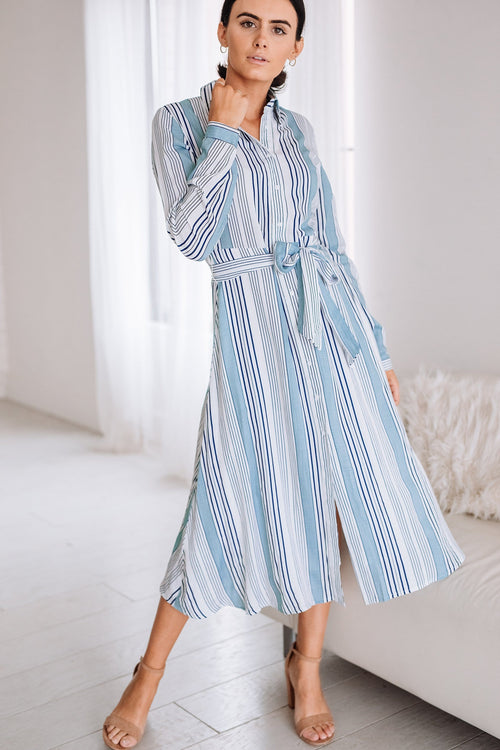 The Burgess Stripe Dress in Blue