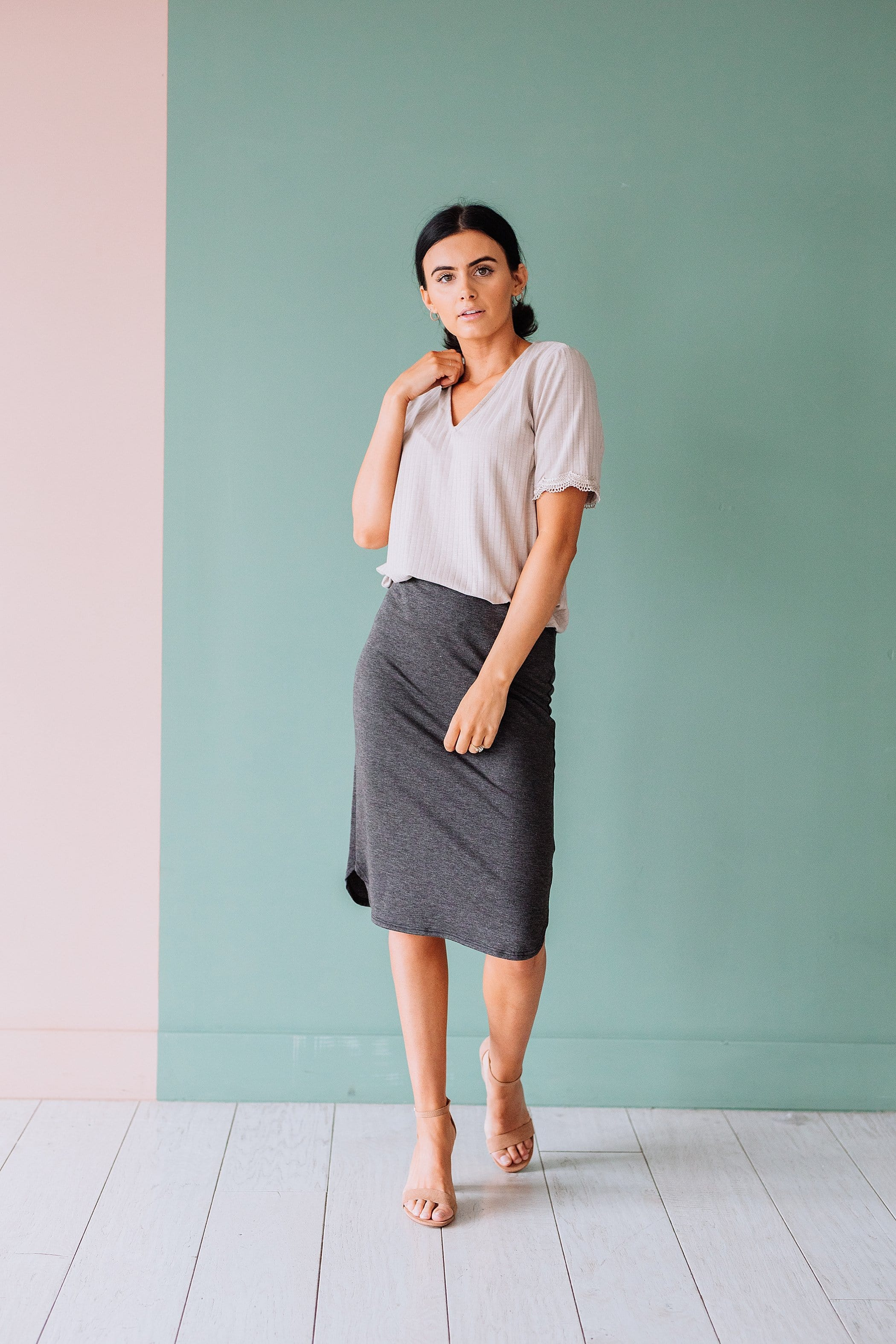The Eloise Knit Skirt in Charcoal