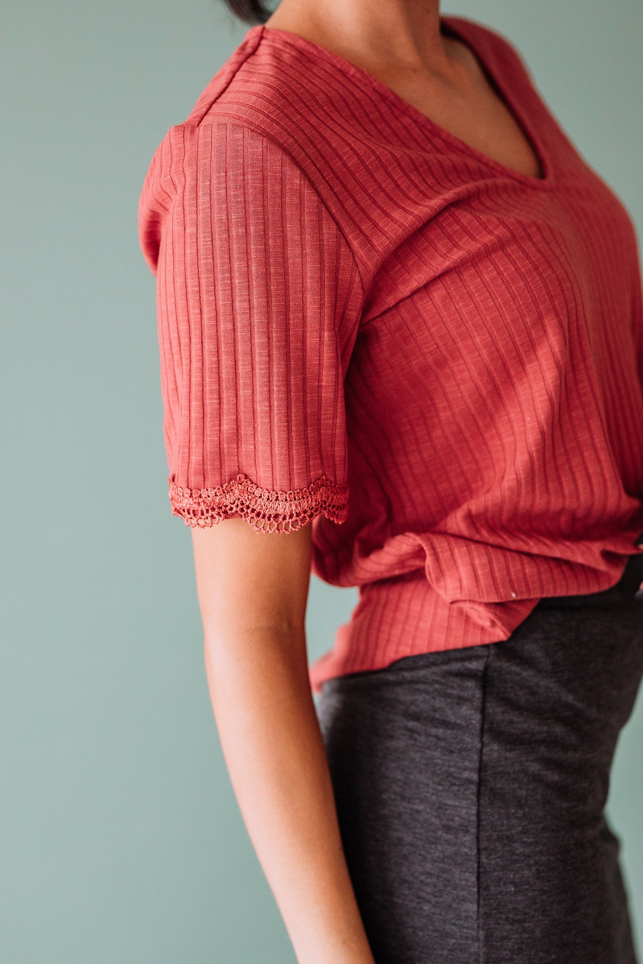 The Adrian Ribbed Knit Top in Taupe and Rust