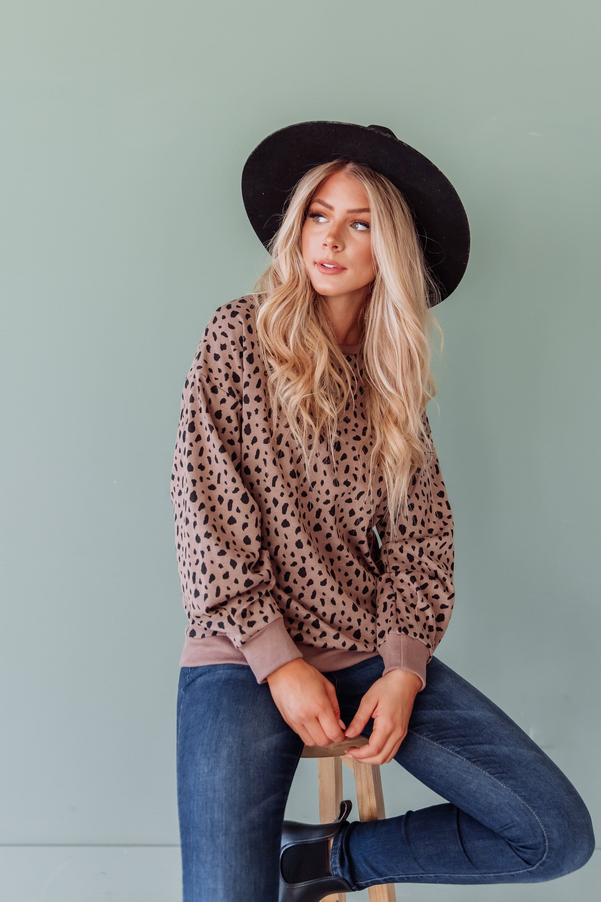 The Grafton Animal Print Sweater in Grey and Mocha