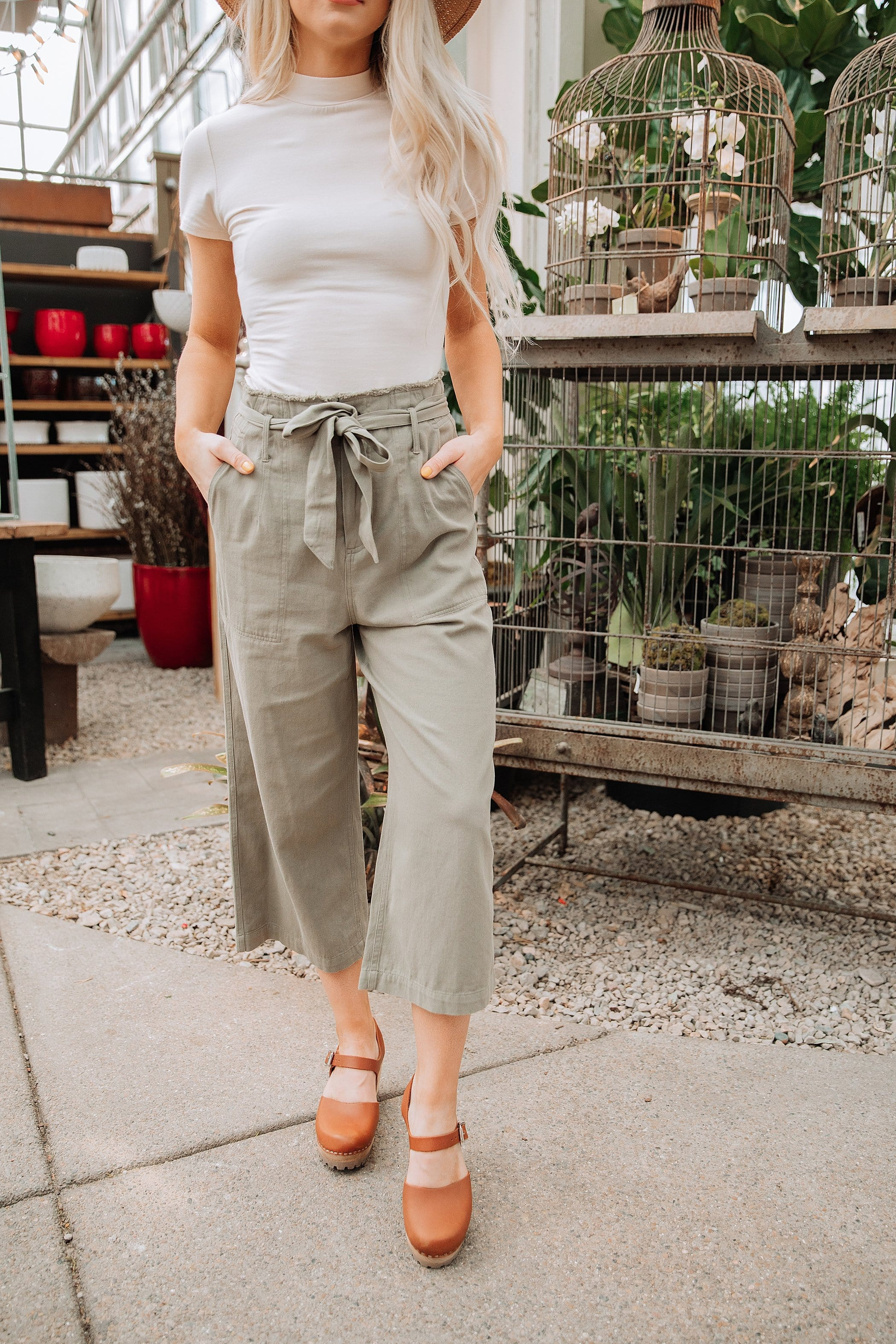The Hadley Tie Waist Pants in Khaki and Olive