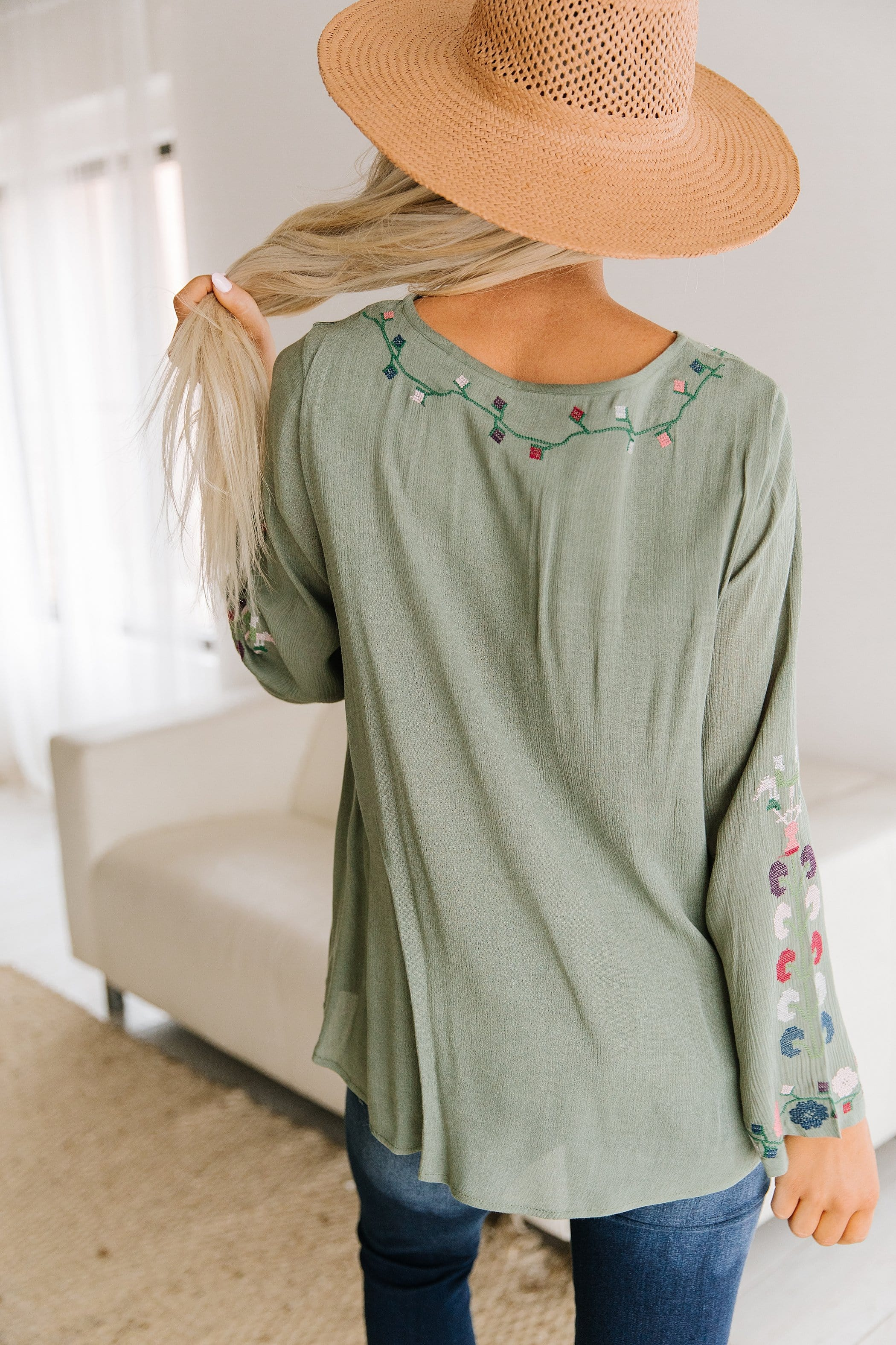 The Bullock Embroidered Top in Sage