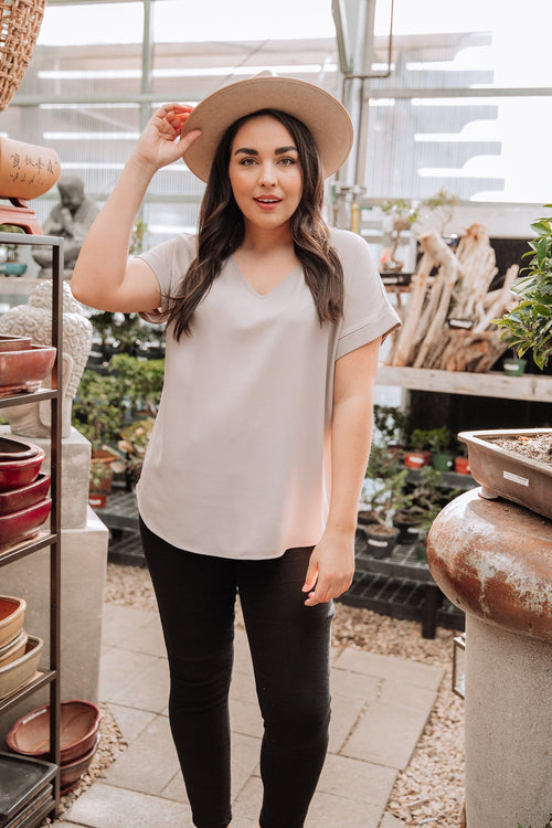 The Jacie Chiffon Top in Ash Mocha