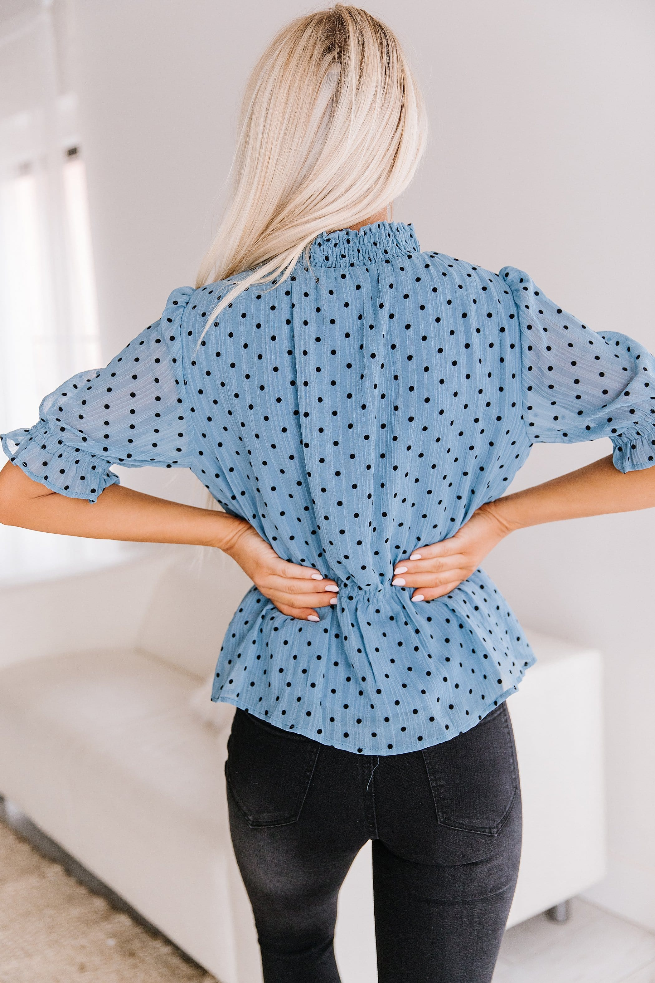 The Marta Polka Dot Peplum Top in Indigo