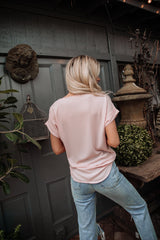 The Jacie Chiffon Top in Ash Mocha and Blush