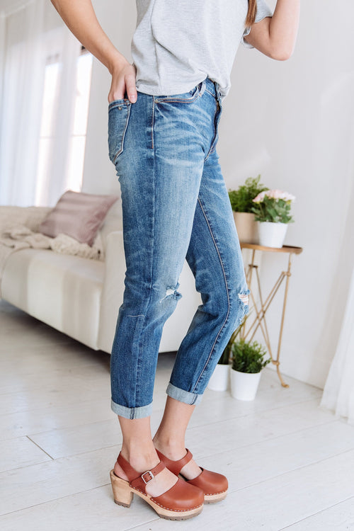 The Brenna Mid Rise Slim Fit Jeans in Denim