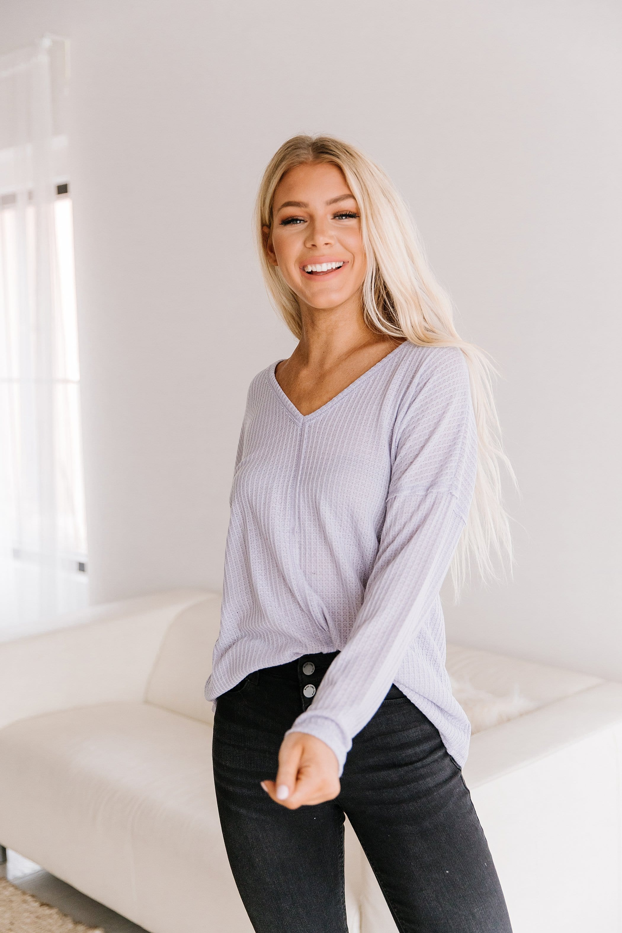 The Lola Waffle Top in Charcoal, Lavender, and Rust